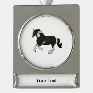 Black and White Paint Pinto Gypsy Vanner Horse Silver Plated Banner Ornament