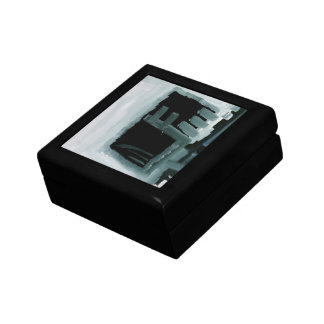 Black and White Paint Swiped Abstract Art Printed Trinket Box