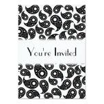 "Black and White Paisley. 5"" X 7"" Invitation Card"