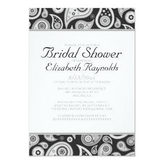 Black And White Paisley Bridal Shower Invitations