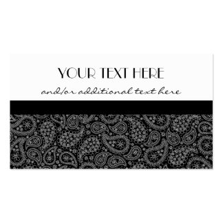 Black and White Paisley Business Card Template