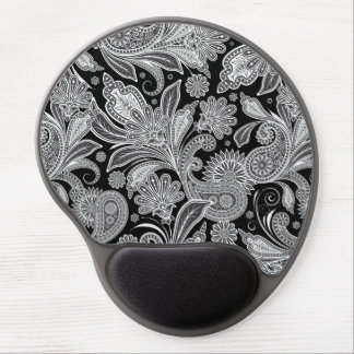 Black And White Paisley Ham Damasks Pattern Gel Mouse Pad