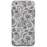Black And White Paisley Lace Retro Pattern Tough iPhone 6 Plus Case