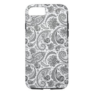 Black And White Paisley Lace Retro Pattern iPhone 7 Case