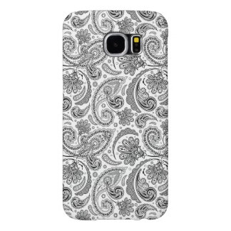 Black And White Paisley Lace Retro Pattern Samsung Galaxy S6 Case