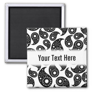 Black and White Paisley Refrigerator Magnets
