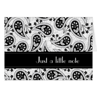 Black and White Paisley Pattern Card