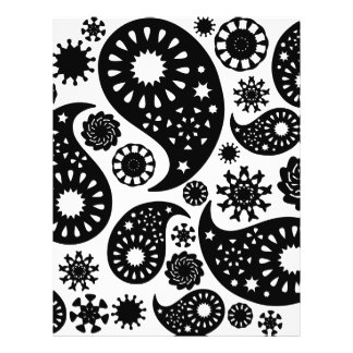 Black and White Paisley Pattern. Flyer