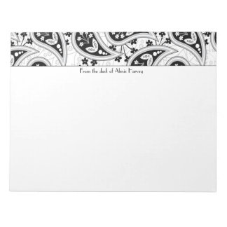 Black and White Paisley Pattern Notepad