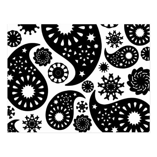 Black And White Paisley Pattern Postcard Zazzlecom