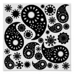 Black and White Paisley Pattern. Poster
