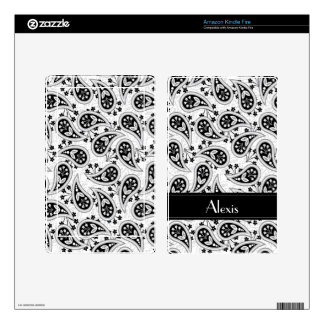 Black and White Paisley Pattern Skins For Kindle Fire