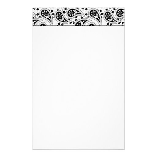Black and White Paisley Pattern Stationery