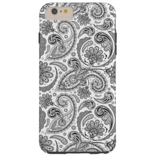 Black And White Paisley Pattern Tough iPhone 6 Plus Case