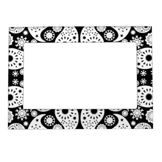 Black and White Paisley. Picture Frame Magnet