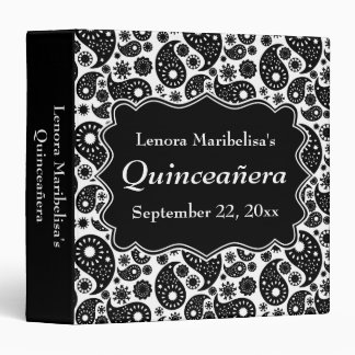 Black and White Paisley Quinceanera 3 Ring Binder