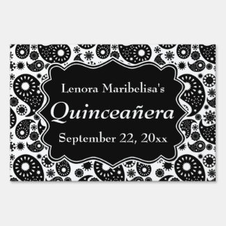 Black and White Paisley Quinceanera Yard Sign