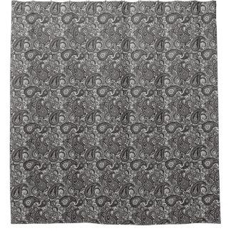 Black White Paisley Shower Curtains | Zazzle