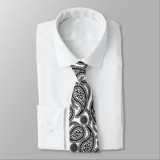 Black and white paisley tie