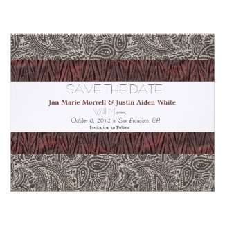 Black and White Paisley Wedding Announcement