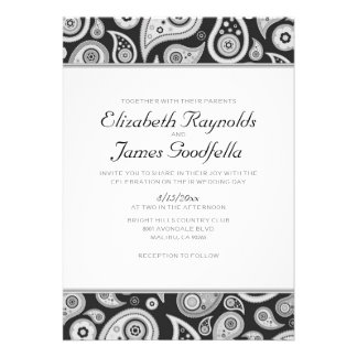 Black And White Paisley Wedding Invitations Cards
