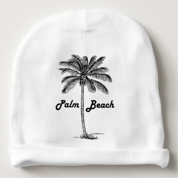Beach Themed Black and white Palm Beach Florida & Palm design Baby Beanie
