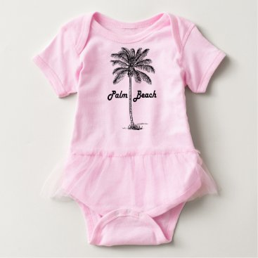 Beach Themed Black and white Palm Beach Florida & Palm design Baby Bodysuit