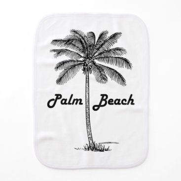 Beach Themed Black and white Palm Beach Florida & Palm design Burp Cloth