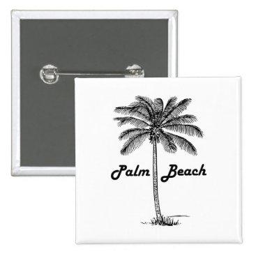 USA Themed Black and white Palm Beach Florida & Palm design Button