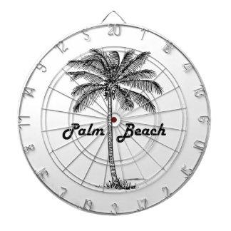 Black and white Palm Beach Florida & Palm design Dartboard