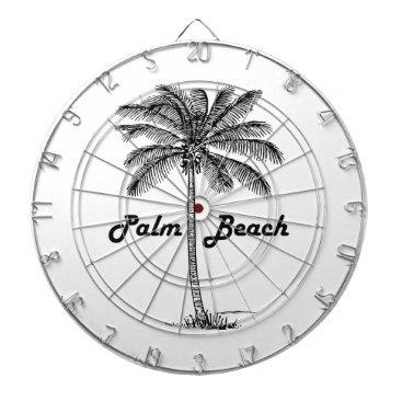 USA Themed Black and white Palm Beach Florida & Palm design Dartboard