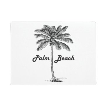 Beach Themed Black and white Palm Beach Florida & Palm design Doormat