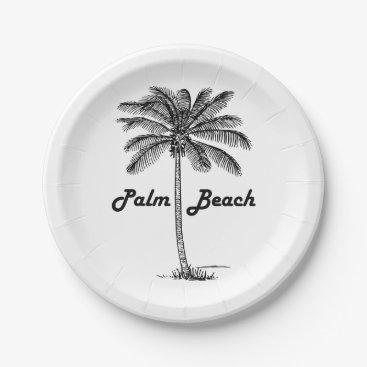 USA Themed Black and white Palm Beach Florida & Palm design Paper Plate