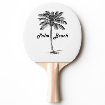 USA Themed Black and white Palm Beach Florida & Palm design Ping Pong Paddle