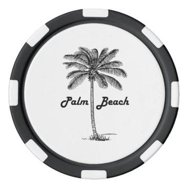 USA Themed Black and white Palm Beach Florida & Palm design Poker Chip Set