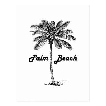 USA Themed Black and white Palm Beach Florida & Palm design Postcard