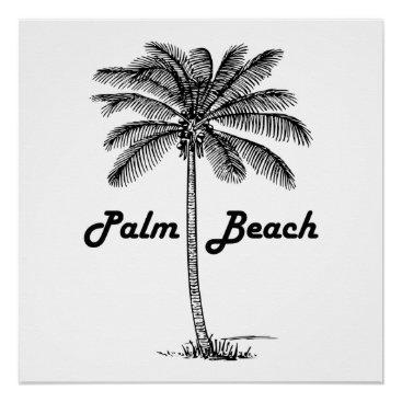 USA Themed Black and white Palm Beach Florida & Palm design Poster
