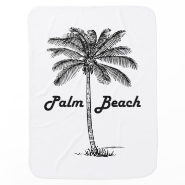 Beach Themed Black and white Palm Beach Florida & Palm design Swaddle Blanket
