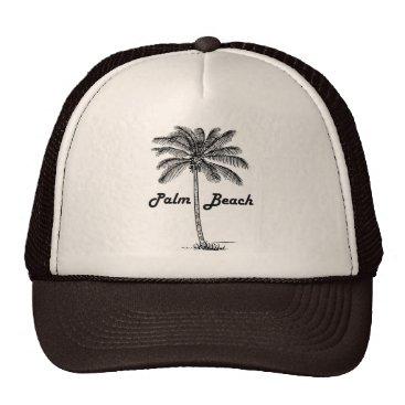 USA Themed Black and white Palm Beach Florida & Palm design Trucker Hat