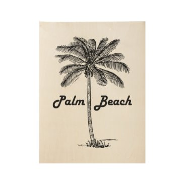 USA Themed Black and white Palm Beach Florida & Palm design Wood Poster