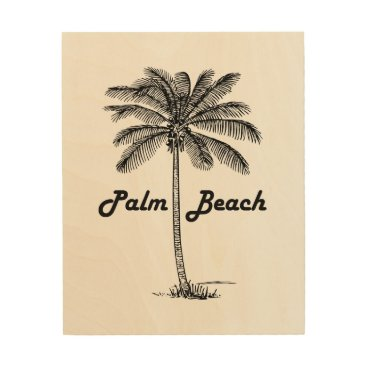 USA Themed Black and white Palm Beach Florida & Palm design Wood Wall Art