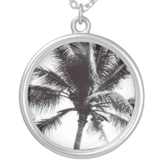 Black and White Palm Round Pendant Necklace