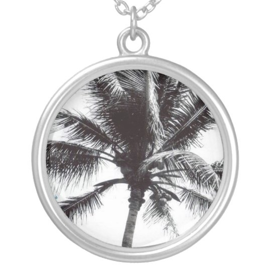Black and White Palm Silver Plated Necklace