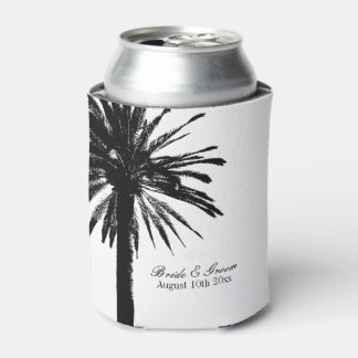 Black and white palm tree beach wedding can cooler