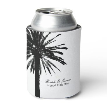 Beach Themed Black and white palm tree beach wedding can cooler