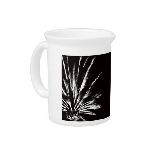 Black and White Palm Tree Beverage Pitcher