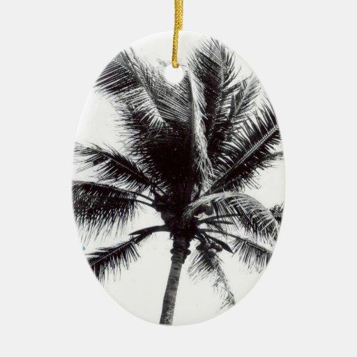 Black and White Palm Tree Christmas Tree Ornament