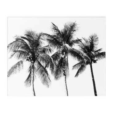 Beach Themed Black and white palm tree tropical paradise acrylic print