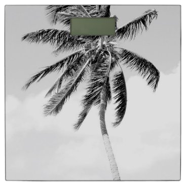 Beach Themed Black and white palm tree tropical photo scales bathroom scale