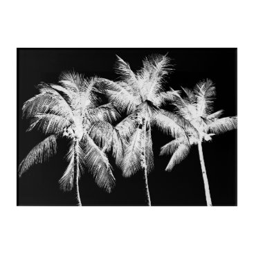 Beach Themed Black and white palm tree tropical summer acrylic print